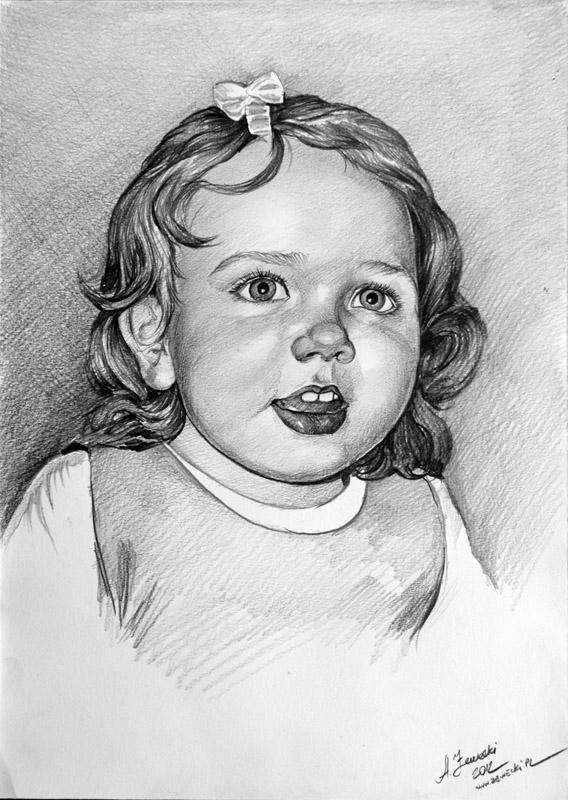 portrety dzieci olowkiem