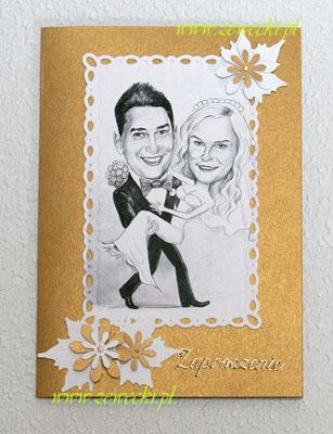 Oryginalne Zaproszenia ślubne Z Karykaturą żewecki Art